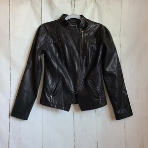 Tanming black pu leather zippered motto jacket new